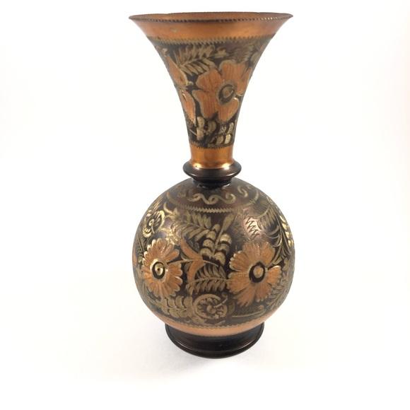 Vintage 1960's Handmade Etched Copper Decor/Vase